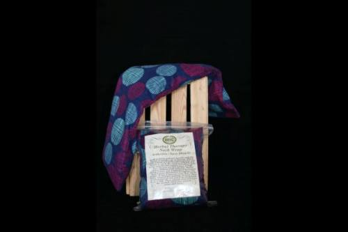 Neck Wrap - Blue with Burgundy & Green Circles Flannel